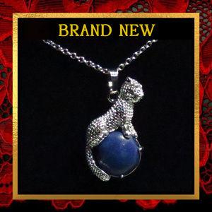Leopard Lapis Lazuli Cat Necklace #156